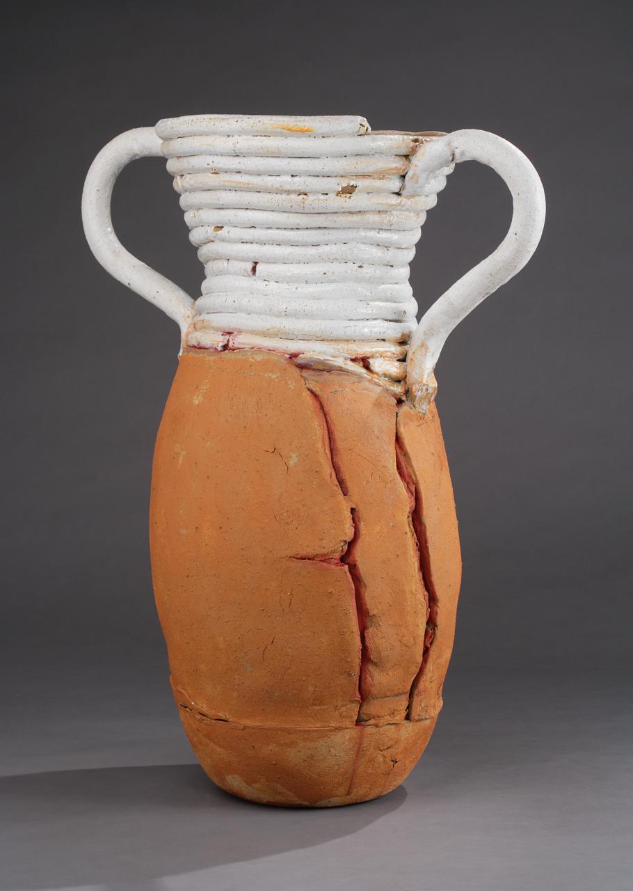 "Large Pot w/White Coils, 29""x25"" diameter, 2015"