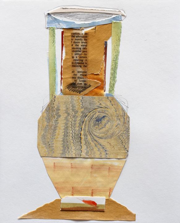 """Marbleware Vase, MixMedia on Paper, 10""""x11"""", 2009"""