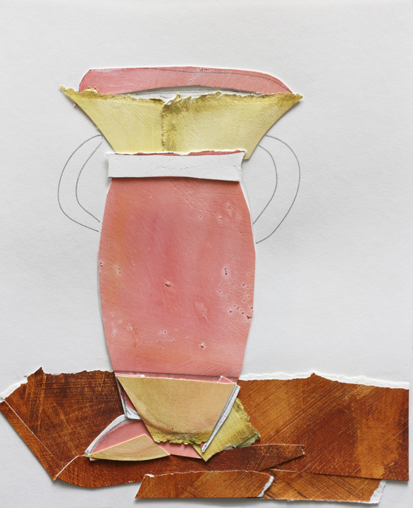 "Pink Vase, Mix Media on Paper, 10""x11"", 2008"