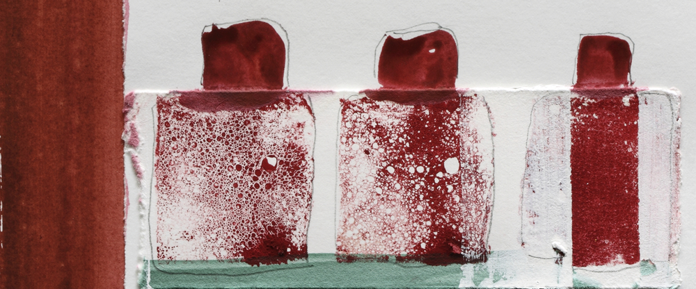 "Three Bottles, Gelatin Print Mix Media, 10""x11"", 2006"