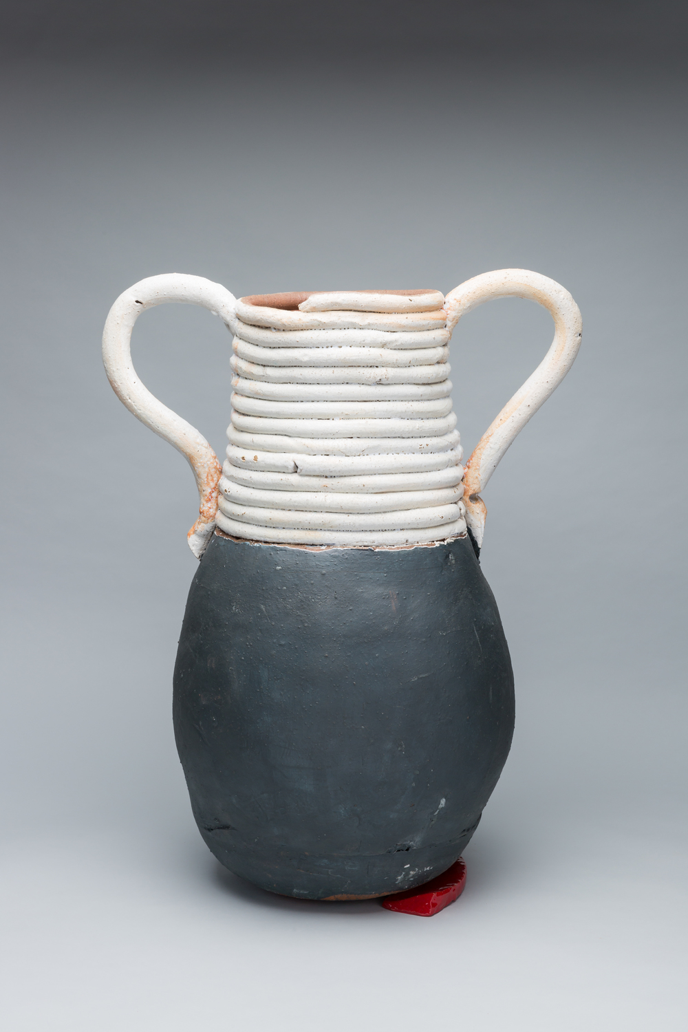 "Large Pot with Blue Base and Red Wedge, 2015, 28"" x 28"""