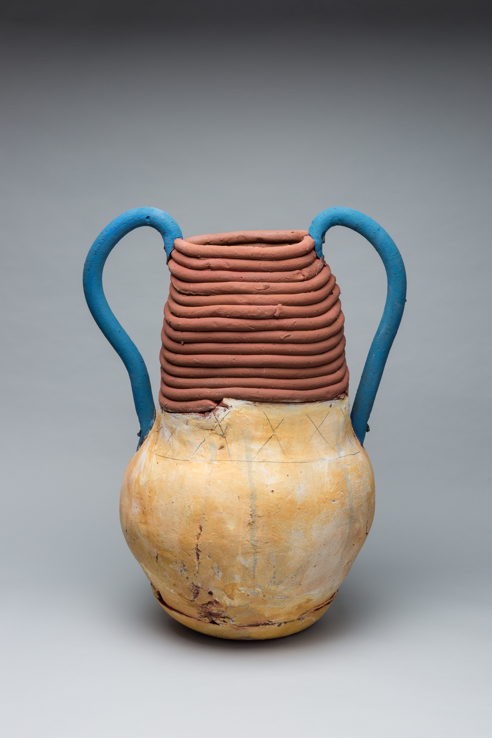 "Large Pot with Blue handles, 27"" x 20"",  2014"