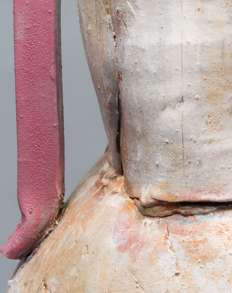 """(Detail) Large Pot with Pink Handles and Rim, 2016, 32"""" x 18"""""""