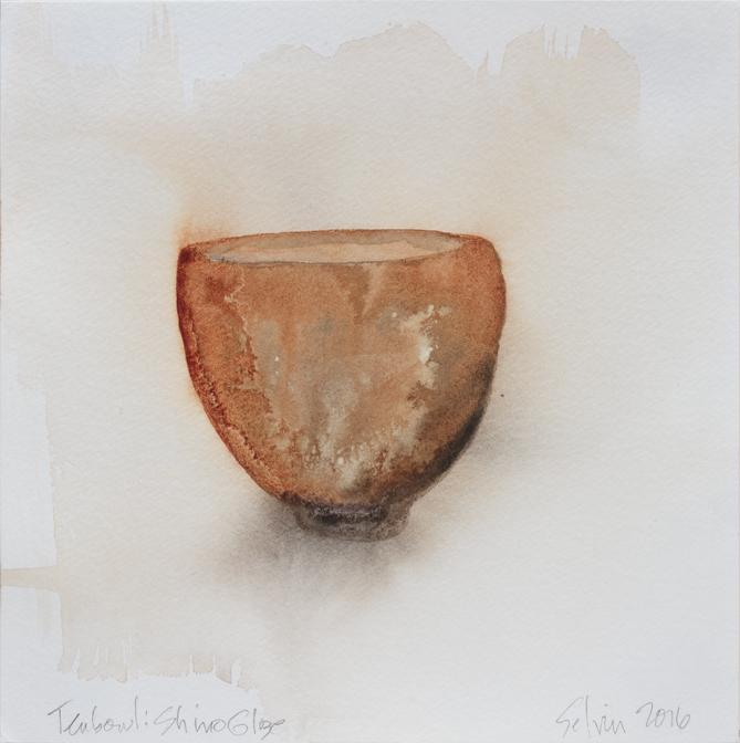 "Teabowl, Shino Glaze, 8""x8"", 2016"