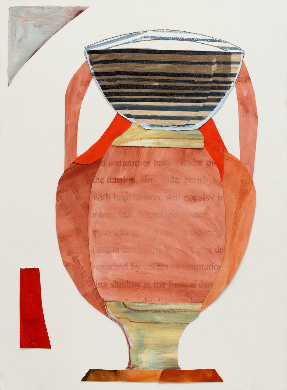 "Amphora with Stripes, Collage on Arches paper, 36"" x 28"", 2017"