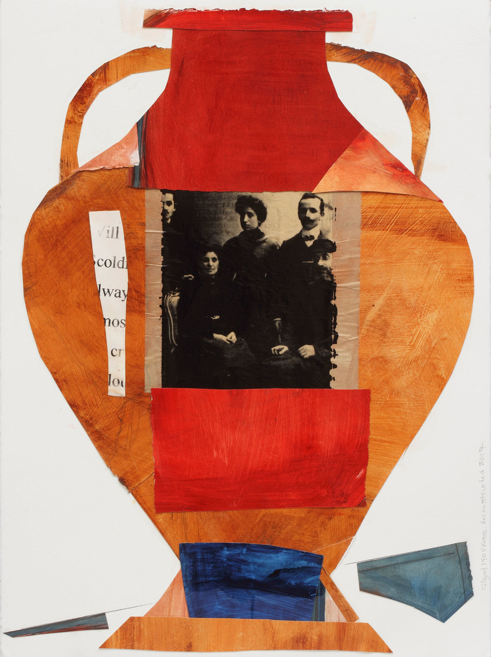 "Urn, Family Remains, Collage on Arches with Screen Print, 20"" x 24"", 2017"