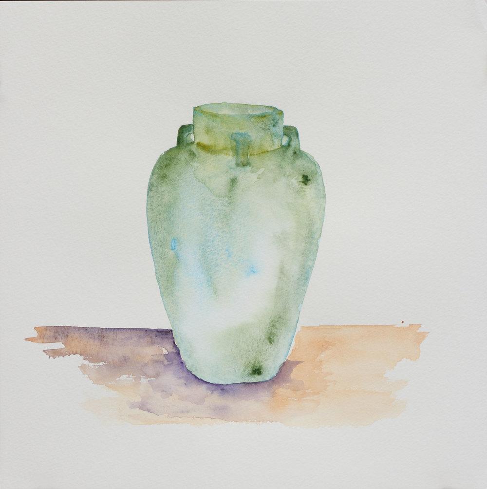 "Celadon Jar, 12"" x 12"", 2017"