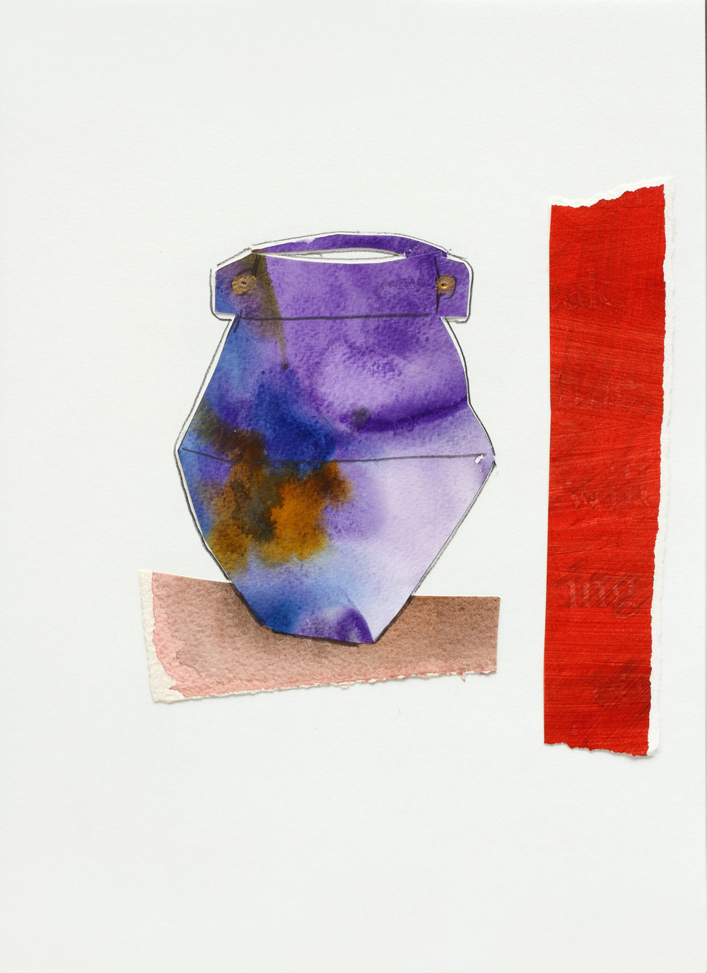 "Vase with Purple Glaze, 9"" x 13"", 2017"