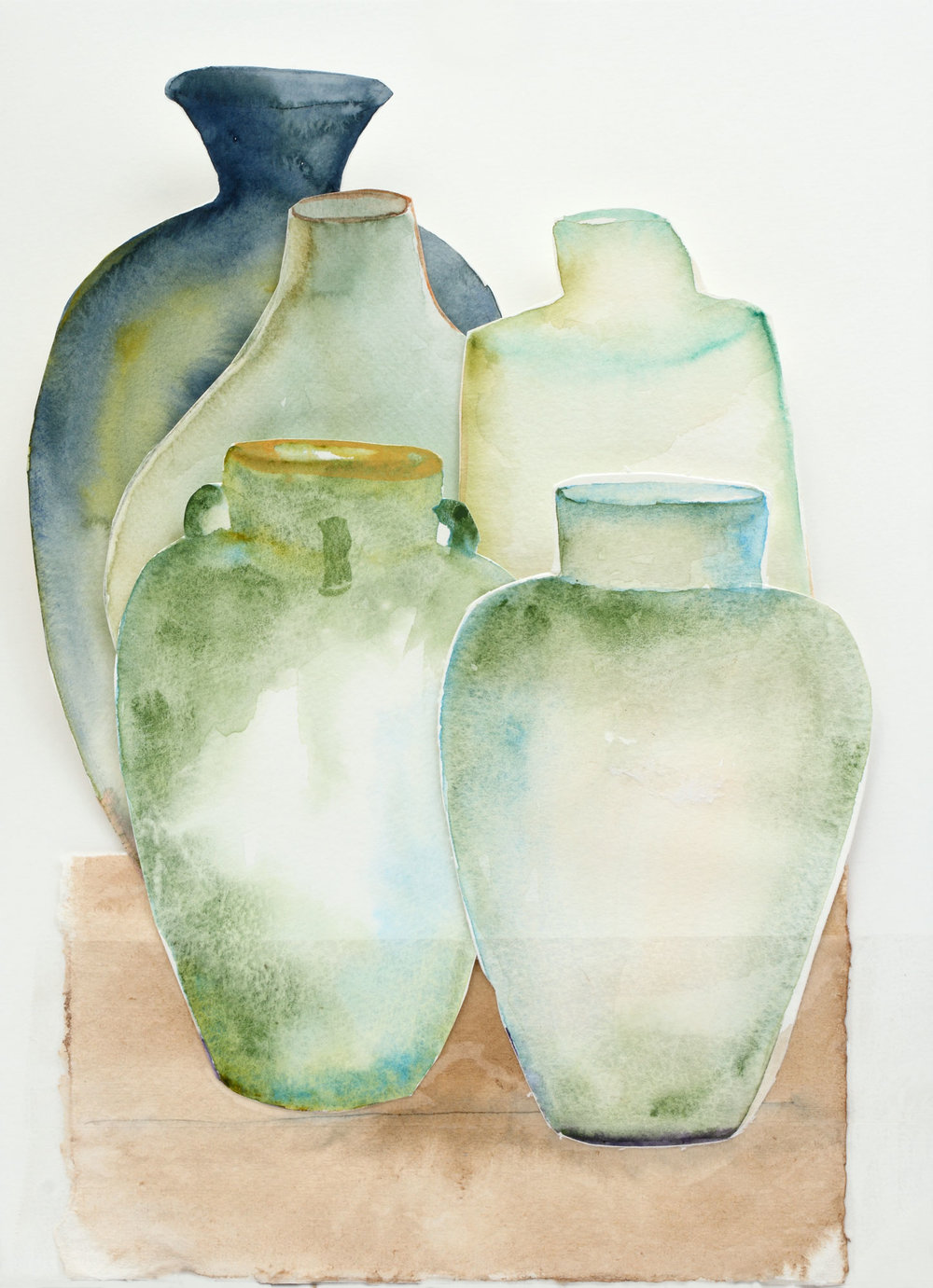 "Celadon Jar Collection, 9"" x 13"", 2017"