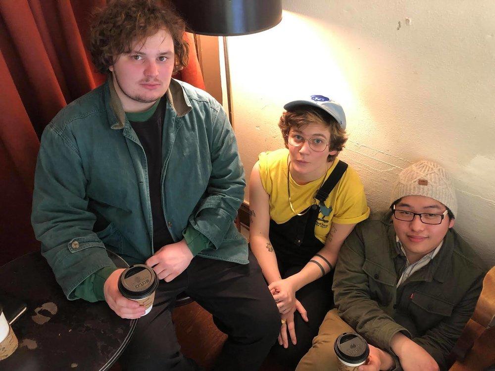 L-R: Trevor O'Loughlin (bass), Ruby Dunphy (drums), Jacob Neenan (Tenor Sax)