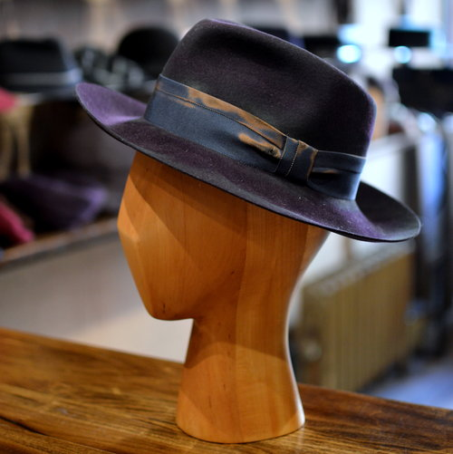934860a3977e9 Distressed Fedora in Eggplant - A dashing distressed fedora with raw cut  brim