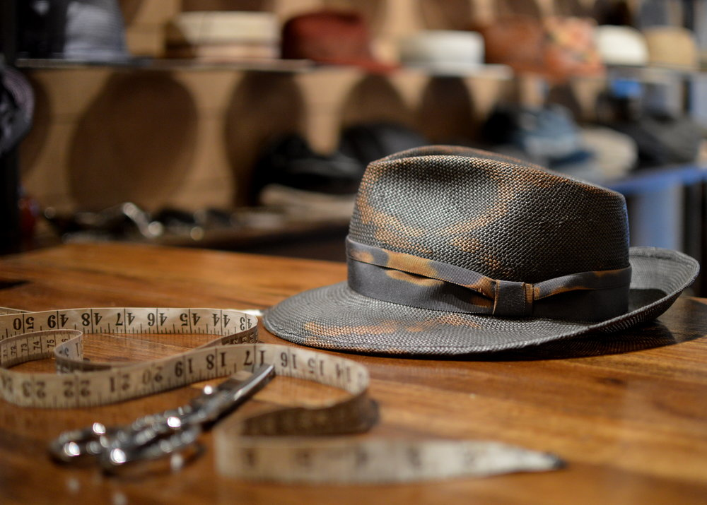 Distressed fedora in charcoal glazed toyo — East Village Hats 72aa8cd967e