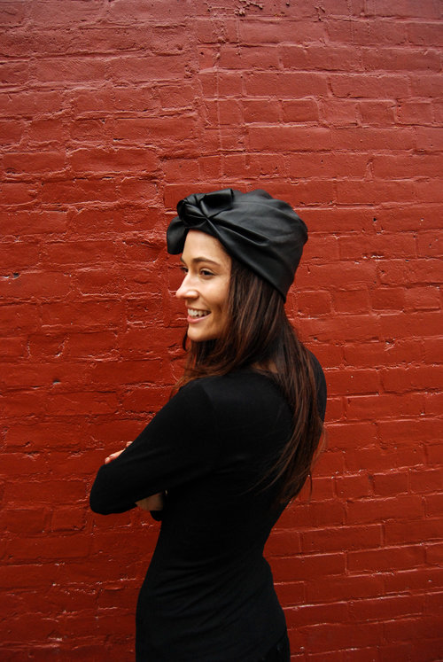 2f2287643e4 Black Leather Urban Turban - The Urban Turban is hand draped in a luxurious  black leather ...