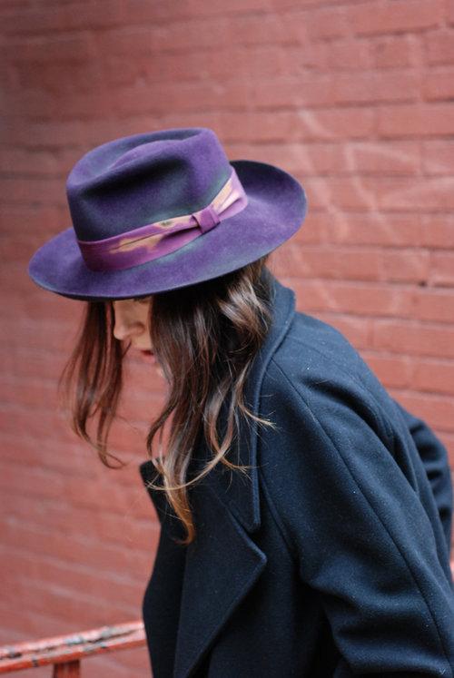 The Distressed Fedora in Purple is a handmade Suede Fur Felt hat. be500da68e01