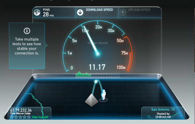 Screenshot from Speedtest.net
