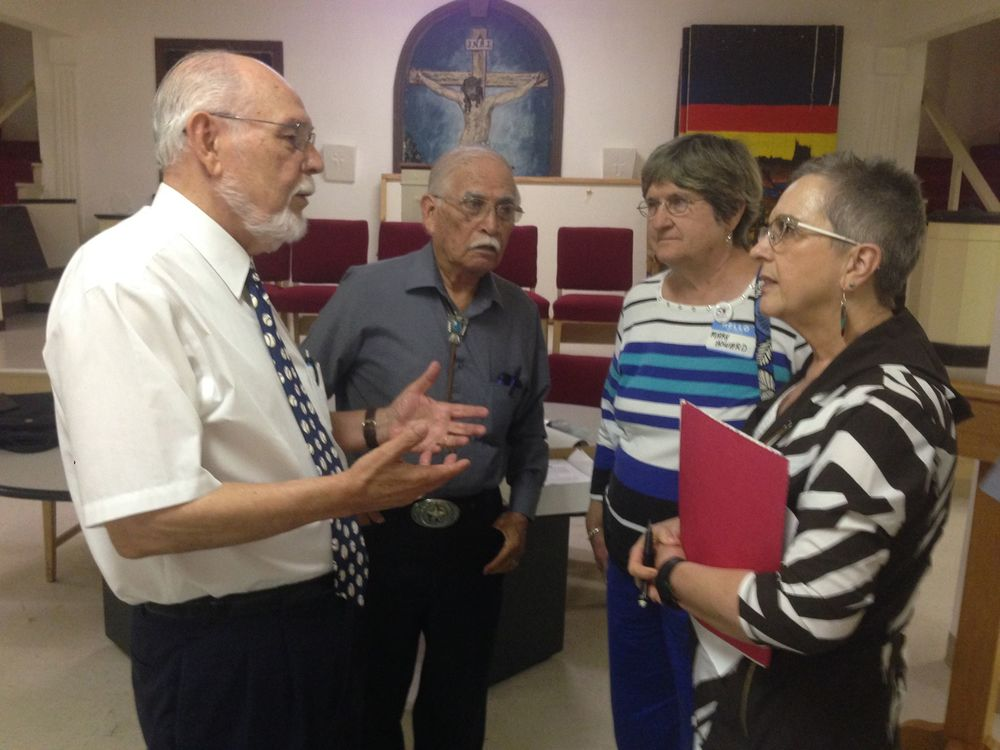bishop joel n. martínez talks to Rev. Arturo Mariscal, Mary Howard and Rev. Suzanne Isaacs about the upcoming 50th Anniversary of the 1966 Texas United Farm Workers March on Labor Day. The planning meeting was held on Thursday, July 28 at St. Paul UMC