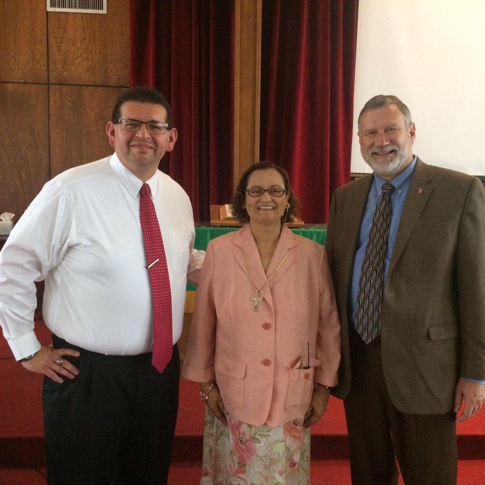 Great service at El Divino Redentor UMC, McAllen with Pastora Nydia and the new El Valle District Superintendent, Robert Lopez.