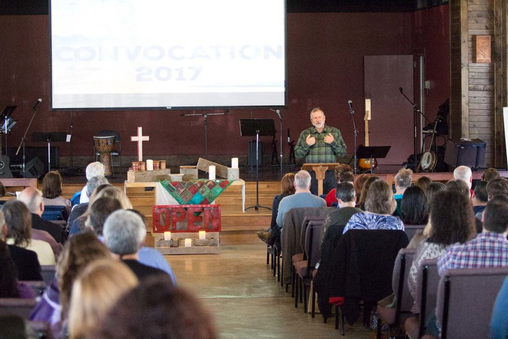 Robert Schnase, Bishop of the Rio Texas Annual Conference, addresses the gathered clergy at the 2017 Clergy Convocation.
