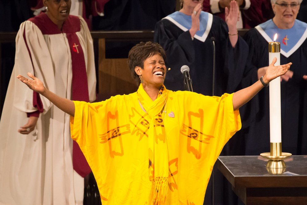 Rosephanye Powell, composer of Gospel Trinity, was vocal soloist and narrator for her work.