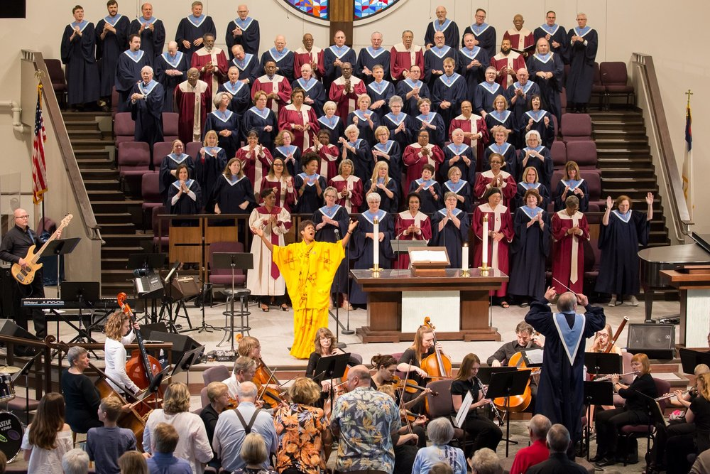 Rosephanye Powell performing her  Gospel Trinity  with the Bethany Orchestra and combined choirs from Bethany UMC and Wesley UMC, Austin.  The four-movement work was performed at three worship services in the Bethany UMC Worship Center in Austin