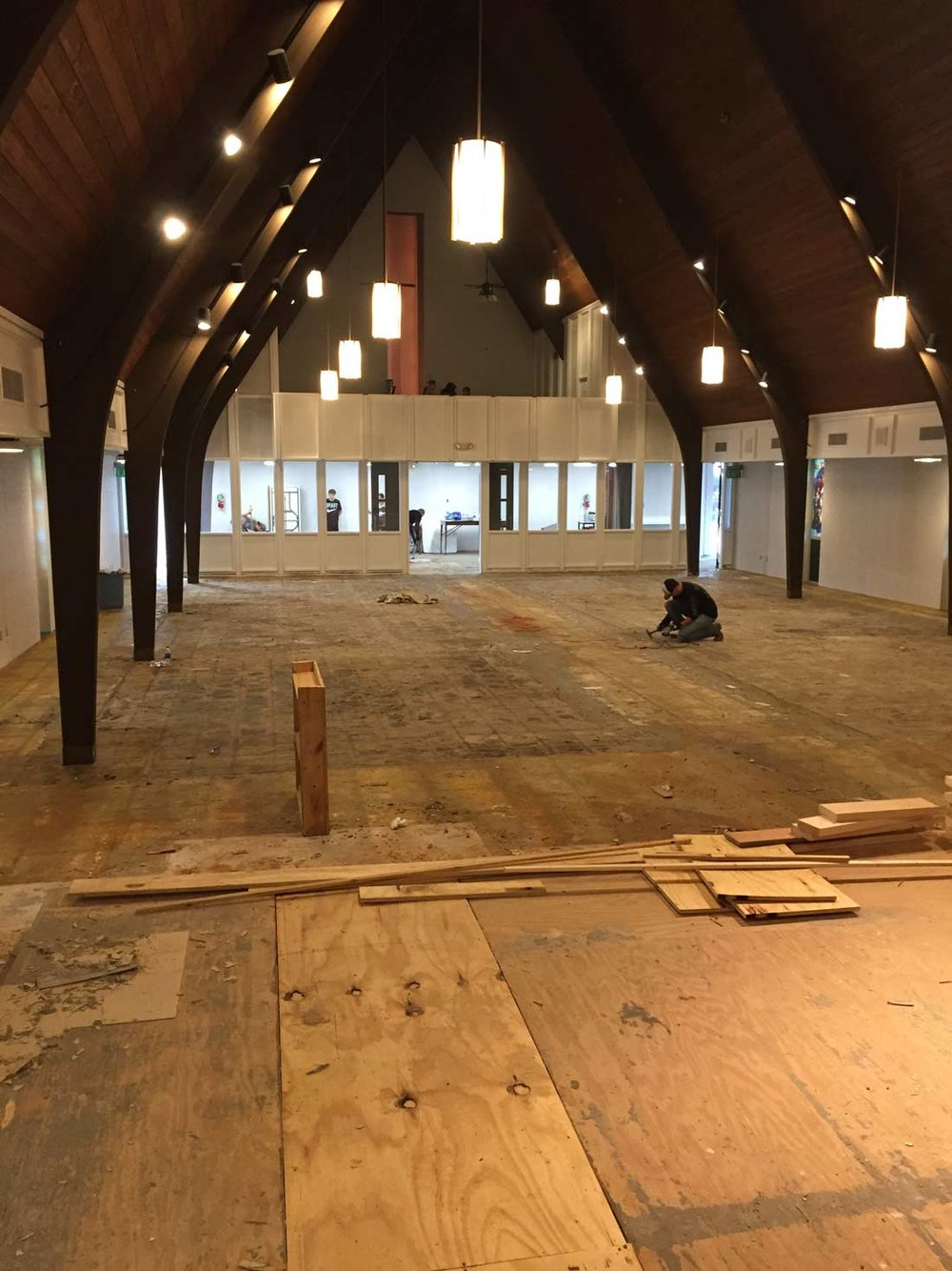 Renovations on the sanctuary began in early January.