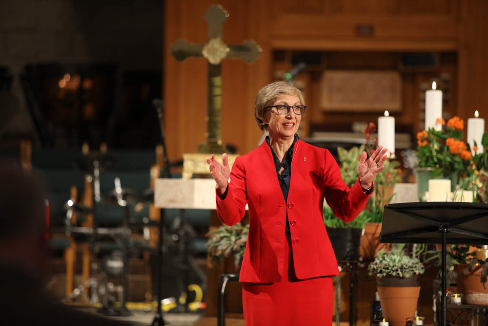 Bishop Janice Riggle Huie shares her understanding of resilience during a teaching session. Photo: Austin Newton, RTMC