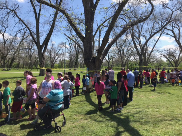 First United Methodist Church, La Trinidad and Wesley Harper United Methodist Churches in Seguin, joined with the Clear Springs New Church initiative and First Latin Assemblies of God for a community Easter Egg Hunt that drew over 450 people.