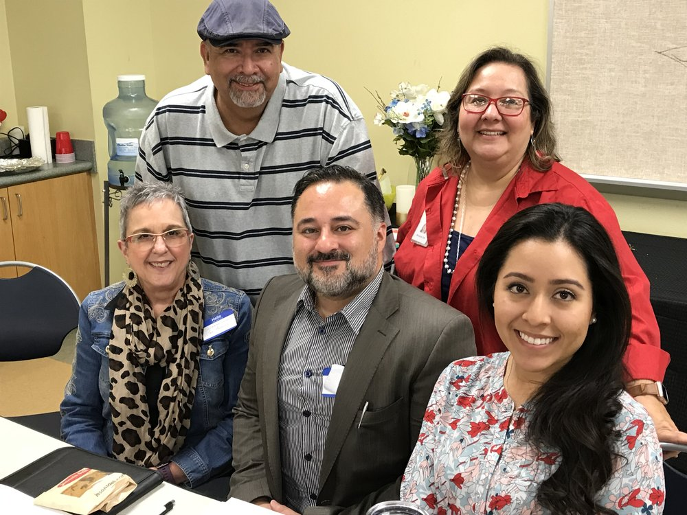 Members of SA Board.  Front row left to right - Suzanne Isaacs, George Chumillo, Lisa Martinez; back row - Andy Hernandez, Minette Gaytan.
