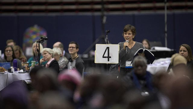 Delegate  Laura Merrill from the Rio Texas Conference speaks during a debate of  church policies on sexuality on February 25, 2019, at the Special  Session of the General Conference of The United Methodist Church, held  in St. Louis, Missouri. Photo by Paul Jeffrey, UMNS.