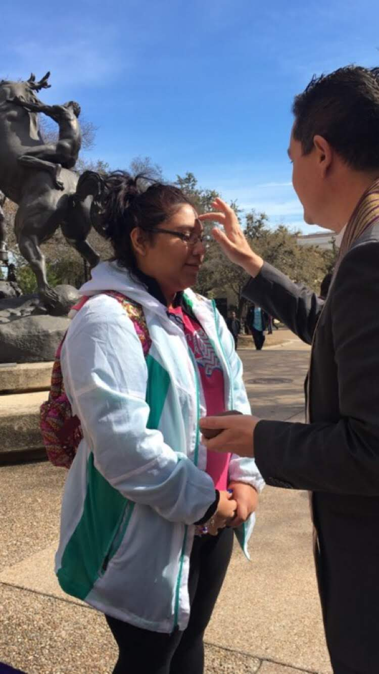"Students receive ""Ashes on the Quad"" at Texas State   Photo Credit: Becca Gray"