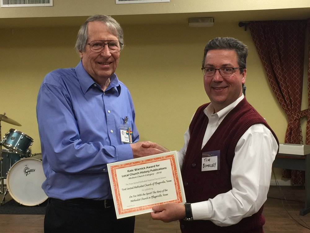 In picture: Left to right, Donn German, part of the Pflugerville history and Tim Binkley, Chair of the Kate Warnick Awards Committee.