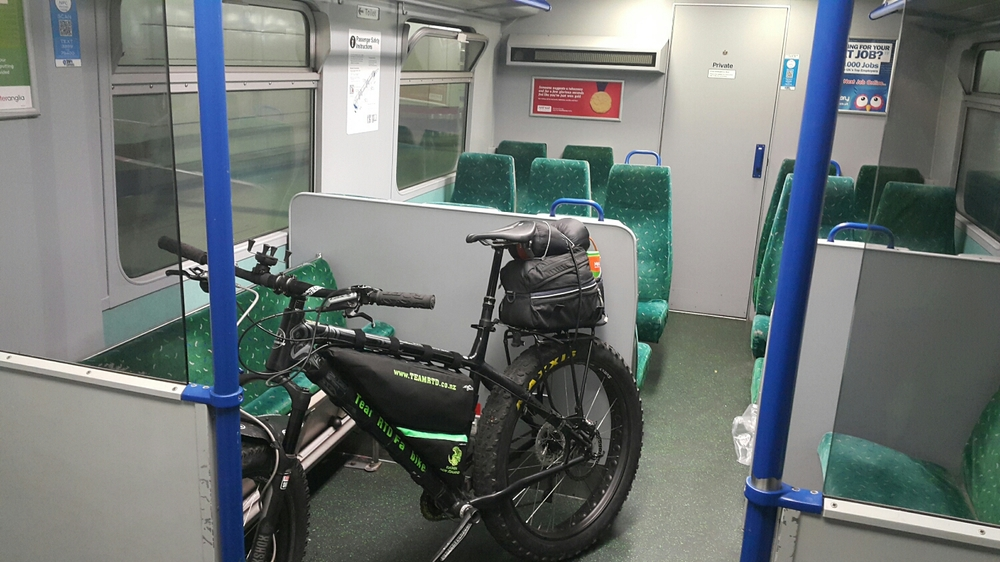 Bike on the train. Just put it anywhere they said.