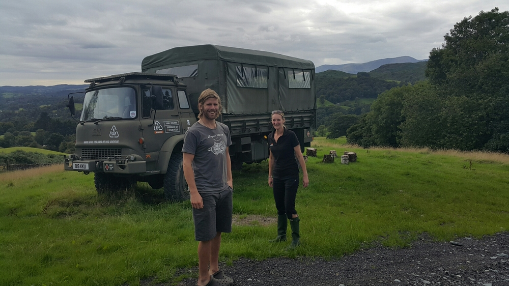 Kate showing Pete our Bed for the night. EX MOD 4x4 Bedford