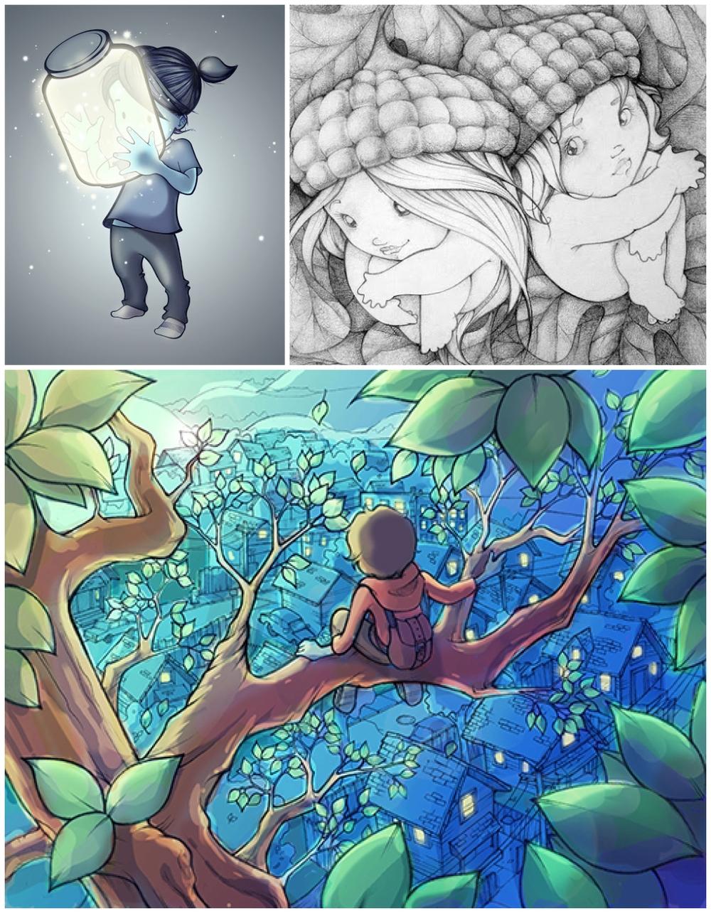 "(TOP Left) ""lightening bugs"" digital, (top right) ""acorn babies"" Graphite, (bottom center) ""wanderlust"" graphite and digital"