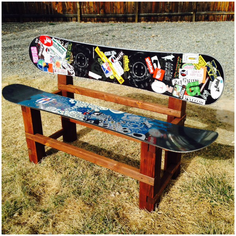 Bench made out of repurposed snowboards