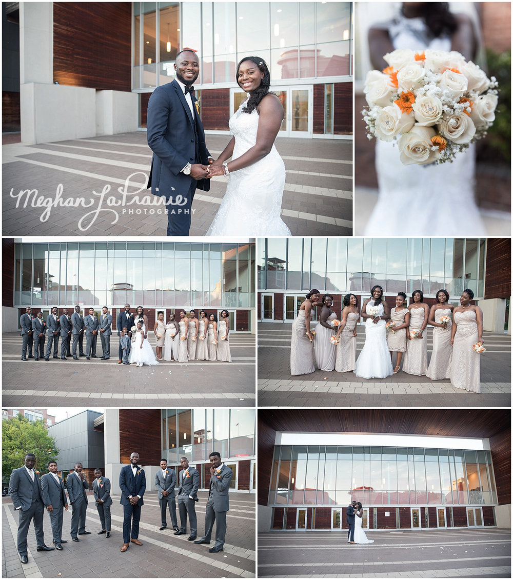 Bridal party photos at Veterans Plaza in downtown Silver Spring, MD.
