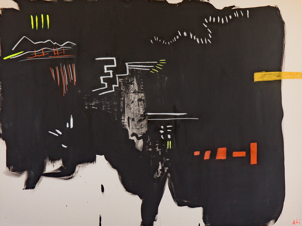 """Neon Markings   Acrylic, Oil and Charcoal on Canvas 60"""" x 72""""  Sold"""