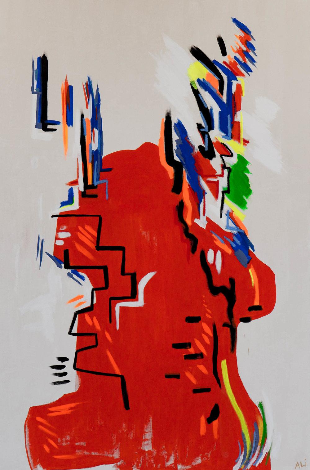 "Vivid Mythos   Clay, Pigment, Acrylic and Oil on Canvas 72"" x 48"" $5400"