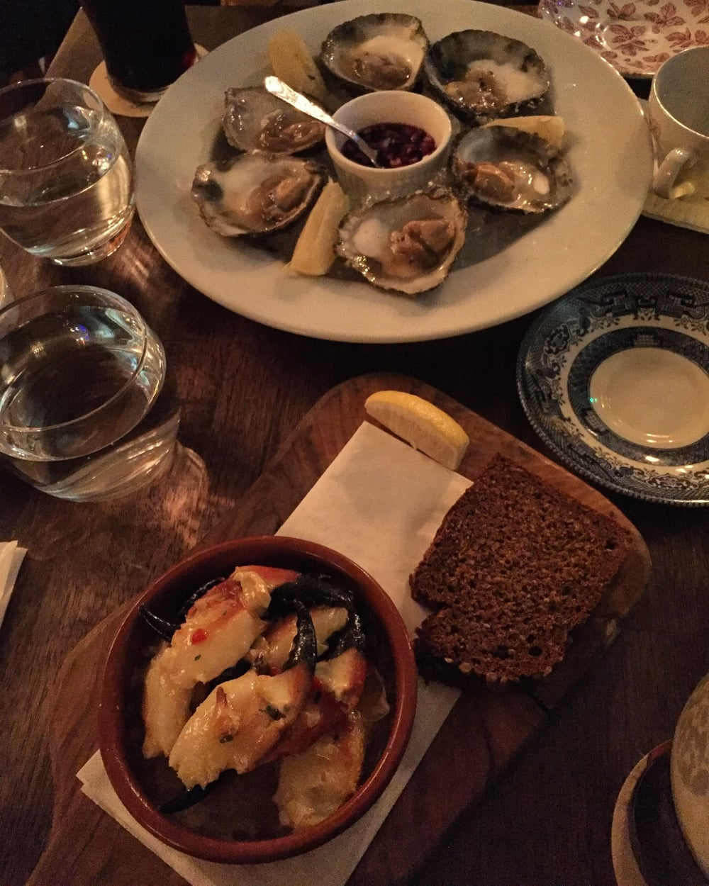 Oysters, Guinness and crab so good I weep thinking about it.