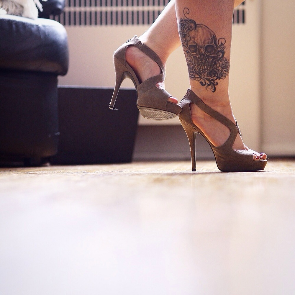Add a dash of girly and a dash of tomboy. Girl that loves heels and skulls equally makes for an interesting date to a formal occasion. Embrace what makes you different. Tattoo courtesy of @Graphikink    Sunday, June 14th, 2015
