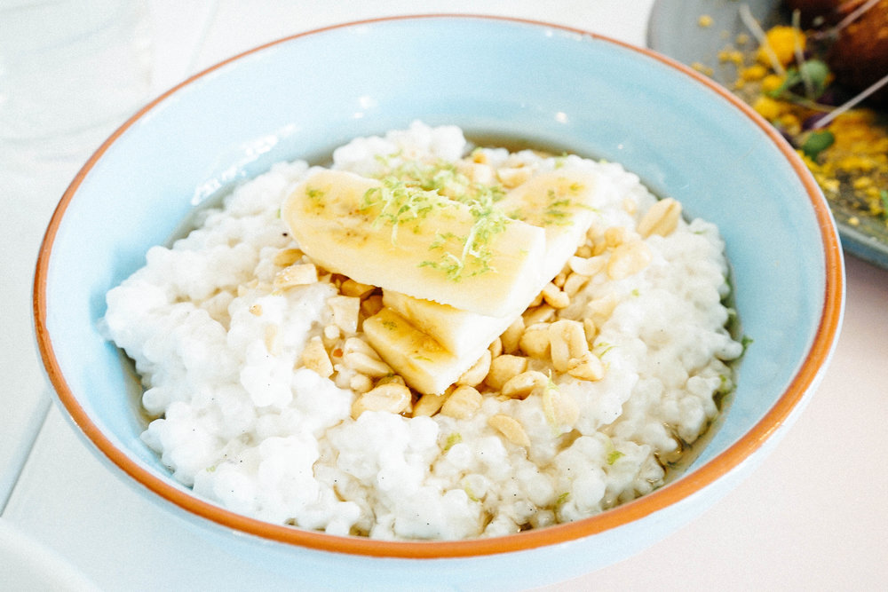 Porridge with tapioca, peanuts, lime zest, and coconut milk   $13.5