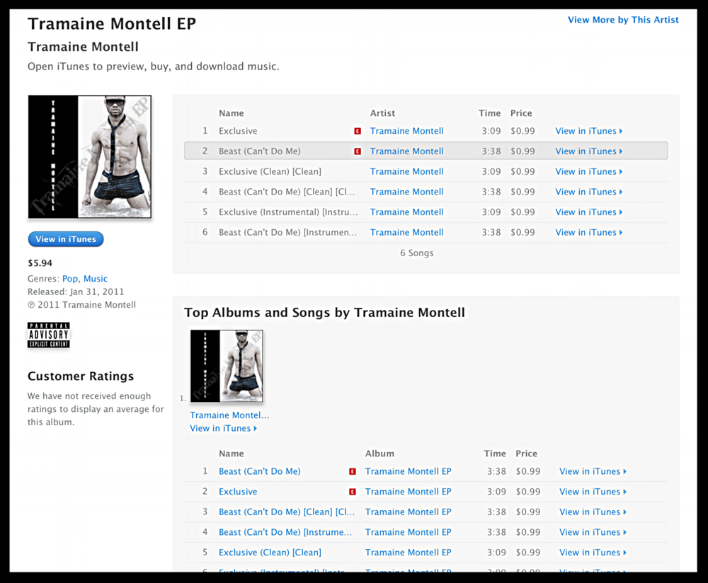 Tramaine Montell EP iTunes
