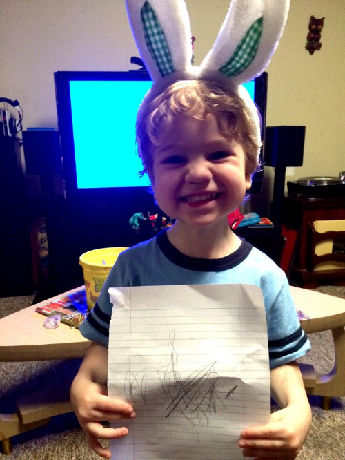 """Dear Easter Bunny...thank you for not being naughty at Christmas!"""