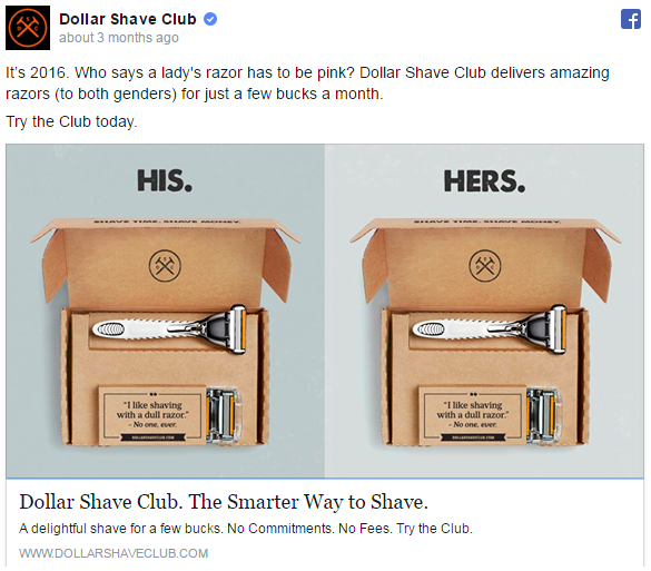 Easy. Simple. On brand. Dollar Shave Club.