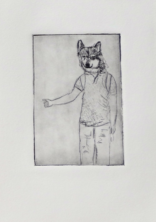 Woof  drypoint on plastic 5 x 8 inches 2013