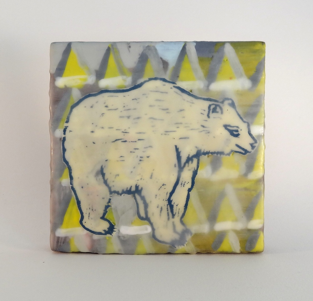 Bear  encaustic and woodcut 6 x 6 inches 2015
