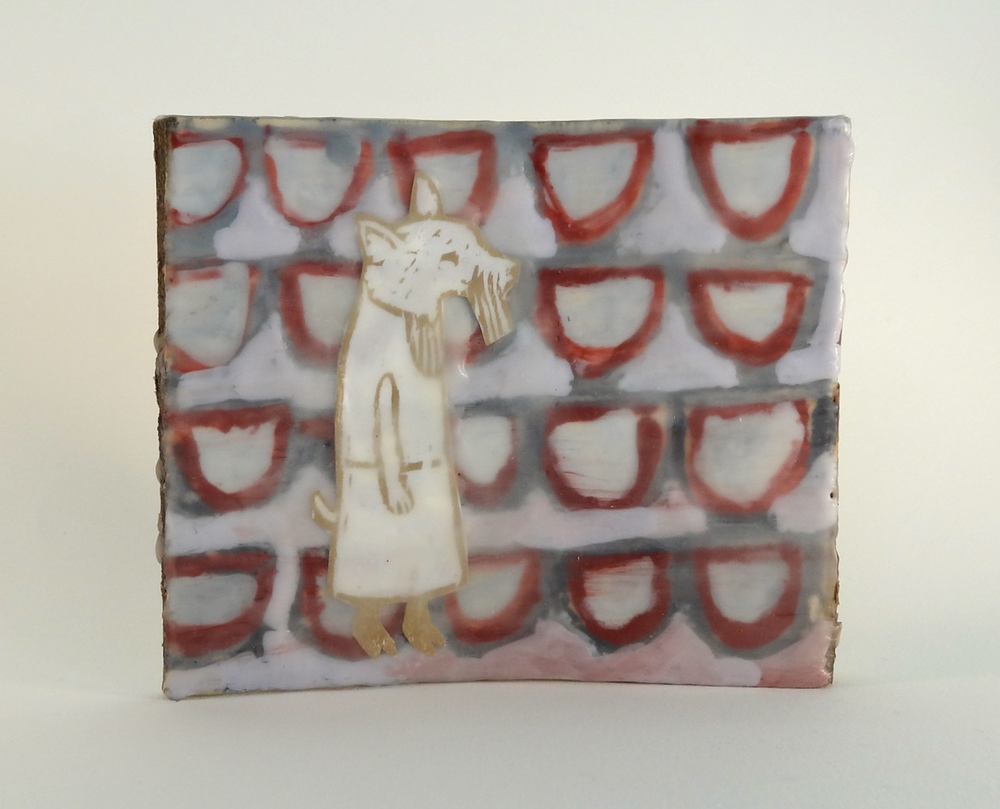 Fox Girl  encaustic and woodcut 6 x 5 inches 2015