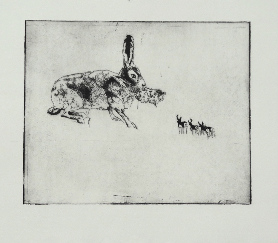 Hare and Herd (nude)  etching 14 x 12 inches 2012