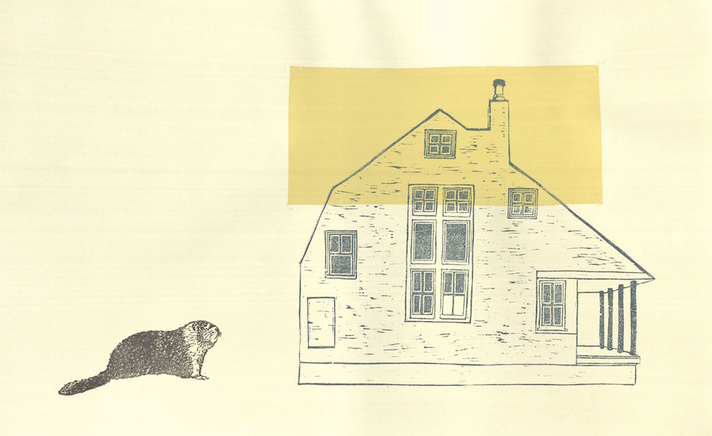 Marmot and House  linocut and silkscreen 20 x 13 inches  2017
