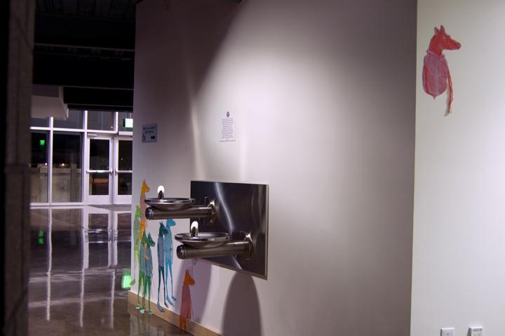 Characters  woodcut print, stencil print, tape Cornerstone Arts Center, Colorado Springs, CO 2012